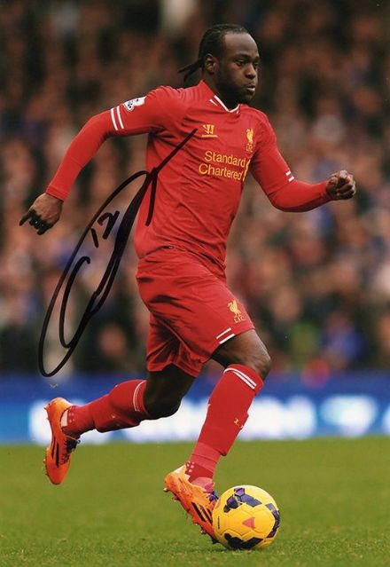 Victor Moses, Liverpool & Nigeria, signed 12x8 inch photo.